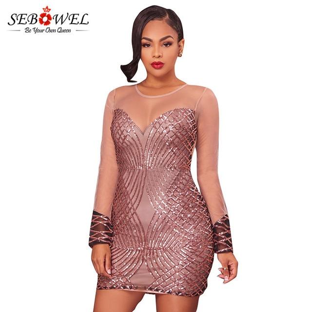 Sebowel Open Back Bodycon Dresses Spring Women 2018 Sexy Long Sleeve Mesh  Shadow Sequin Bottom Dress a9e73e168