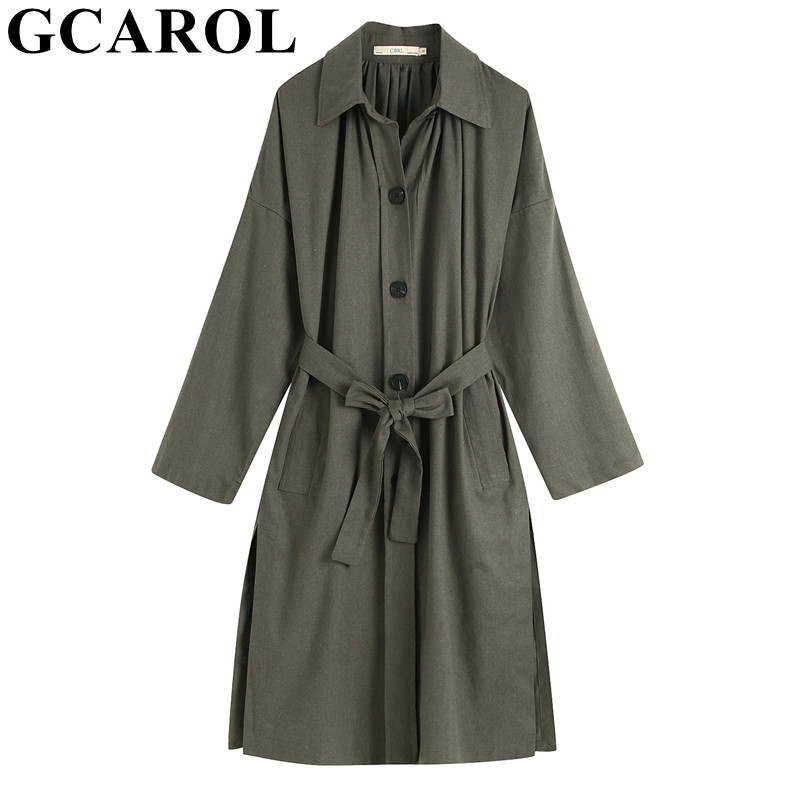 GCAROL 2019 Spring Women Cotton Linen OL   Trench   Long Coat Turn Down Collar Single Breasted Duster Coat Elegant Outfits