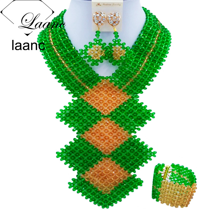 Laanc 2017 African Beads Jewelry Set Green and Gold Nigerian Wedding Necklace and Earrings Sets FKB006 bohemian beads necklace and earrings