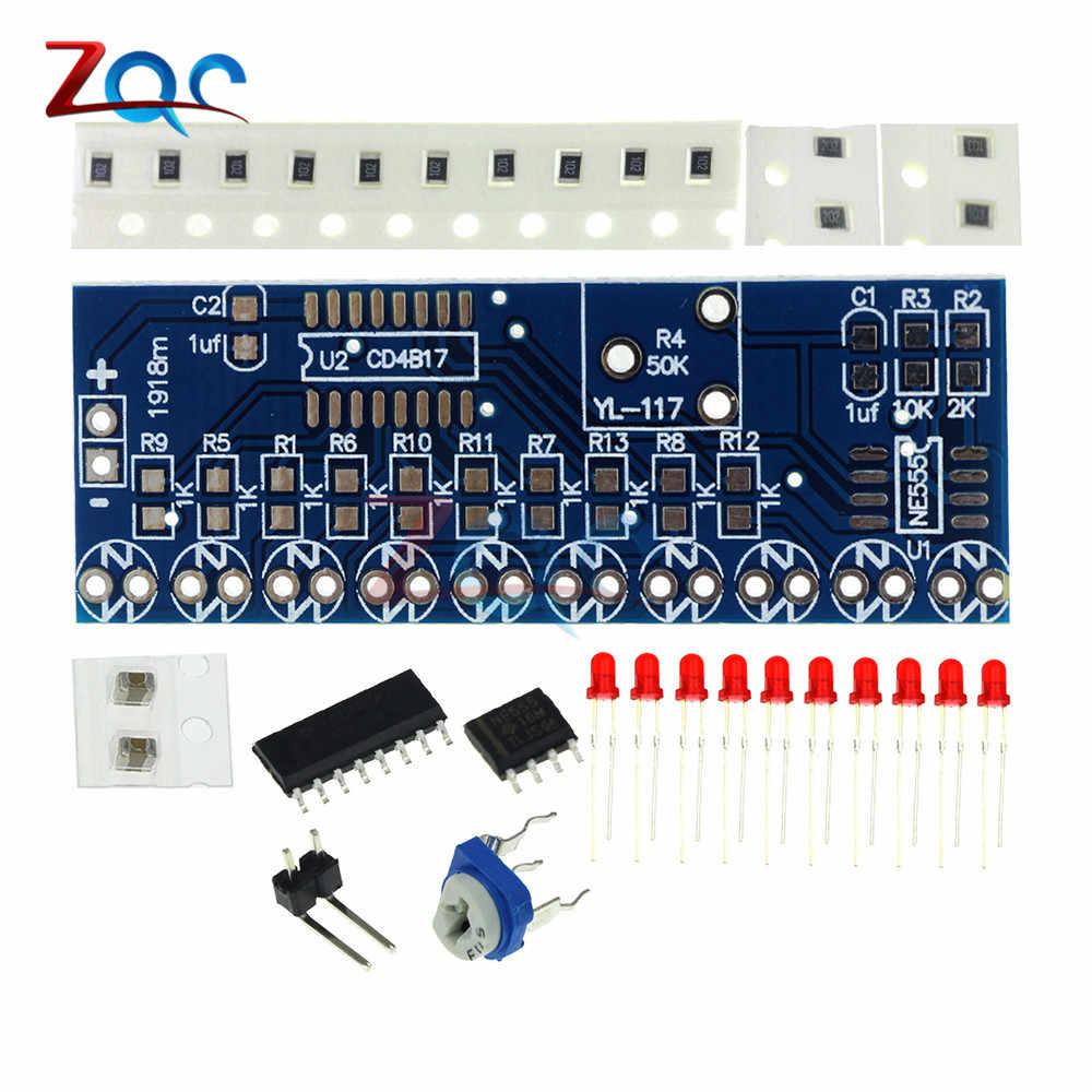 Kits eletrônicos inteligentes ne555 + cd4017 luz de fluxo de água led módulo kit diy
