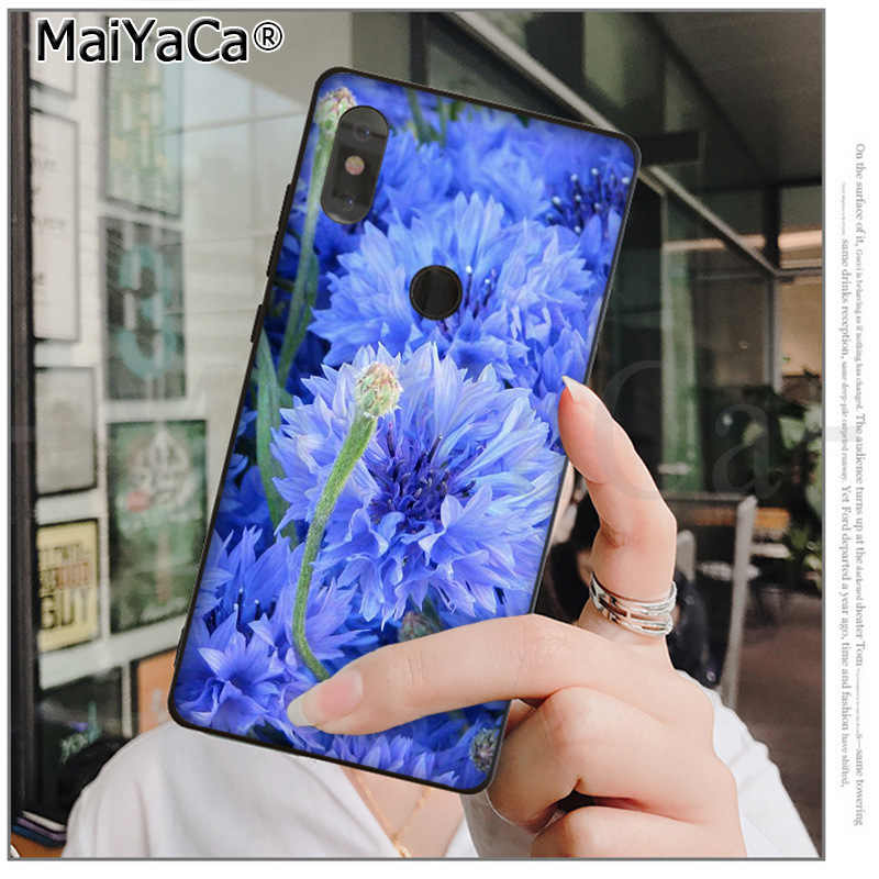 MaiYaCa Mini Blue Cornflowers Butterfly  Compact Lovely phone case  for xiaomi mi 6  8 se note2 3 mix2 redmi 5 5plus note 4 5 5