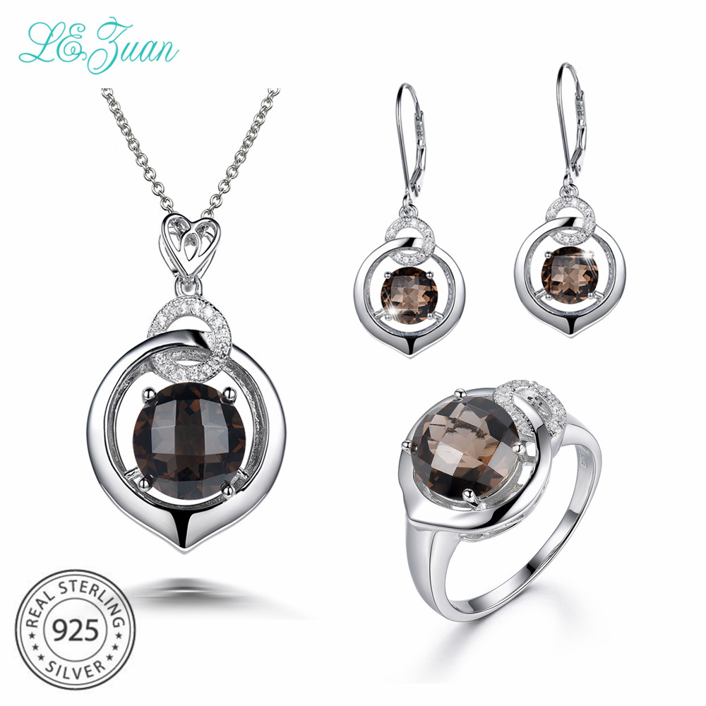 Smart L&zuan 925 Silver Jewelry Set 3.9ct Smoky Quartz Pendant & 4.18ct Smoky Quartz Earrings & 3.93ct Smoky Quartz Ring For Women Jewelry Sets Jewelry & Accessories