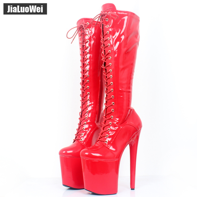 31c4c7d673 jialuowei Women sexy fashion shoes Lace-up Knee-High platform thigh high  boots white Stiletto Zip leather thin high-heel boots