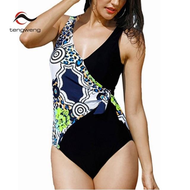 a4dc5d2143a50 2018 Women Sexy 6XL Blue Print Push Up Swimwear Brazilian Leopard Women  Vintage One piece Swimsuit