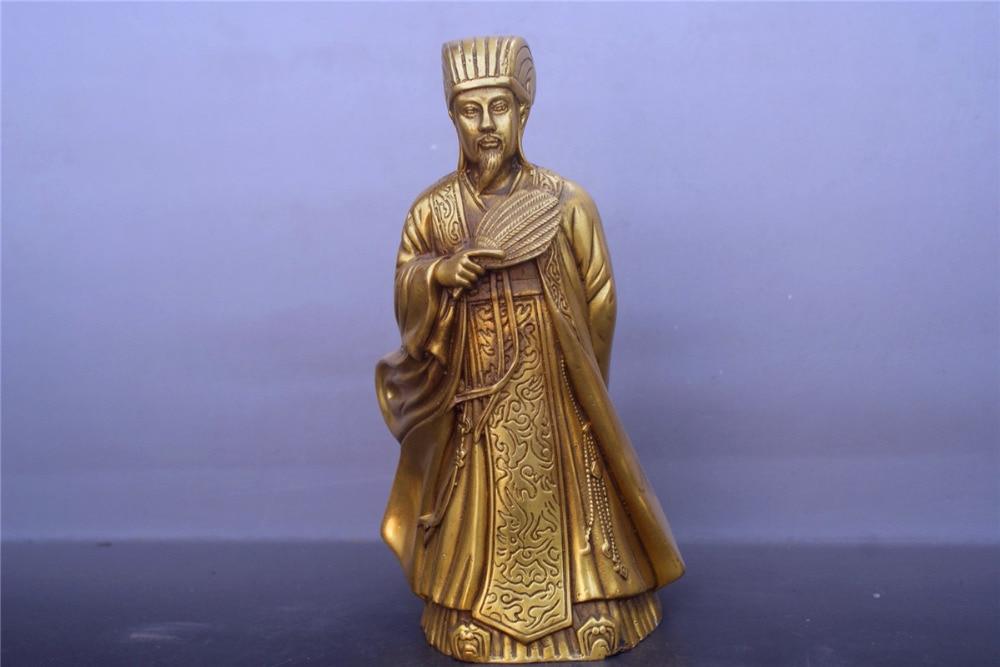 Ancienne Statue chinoise en cuivre bronze Zhu GeliangAncienne Statue chinoise en cuivre bronze Zhu Geliang