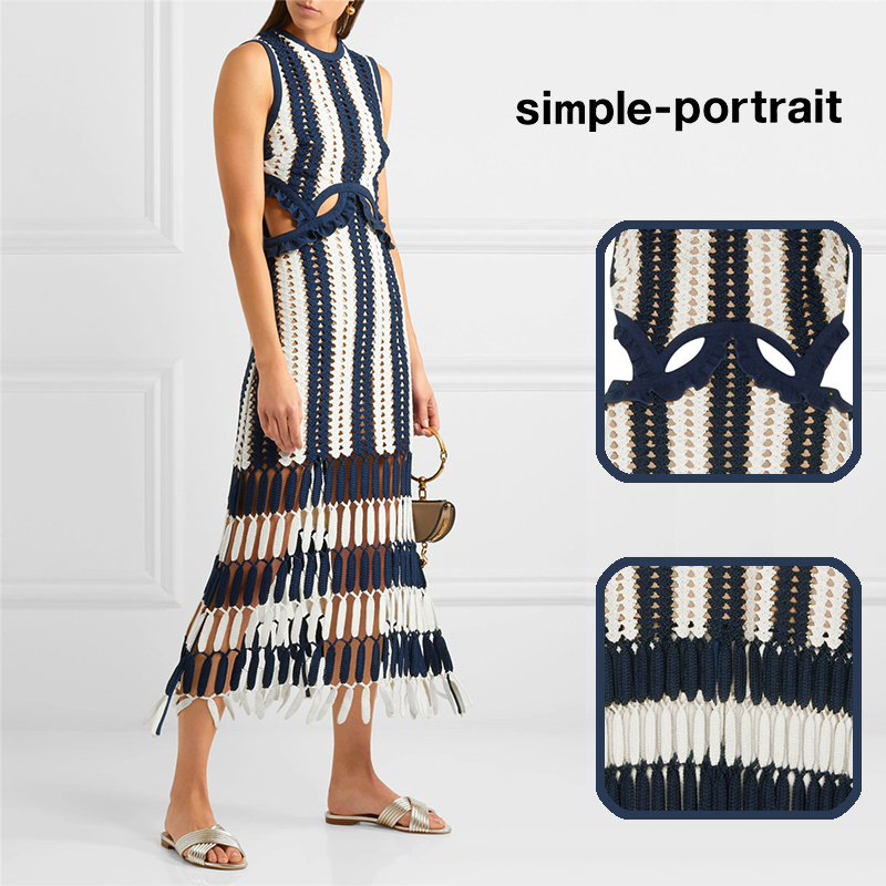 2019 Retro Knitting Dress Women Summer Striped Tassel Patchwork Straight Beach Dresses Hollow Out Party Dress Vestidos Mujer
