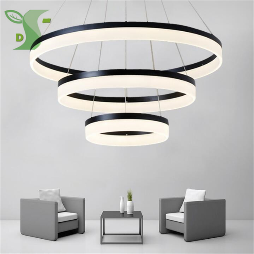LED pendant lights Acrylic ceil ing light 24-160W hanglamp 1-3 ring white warm white cold white dimmable acrilico light