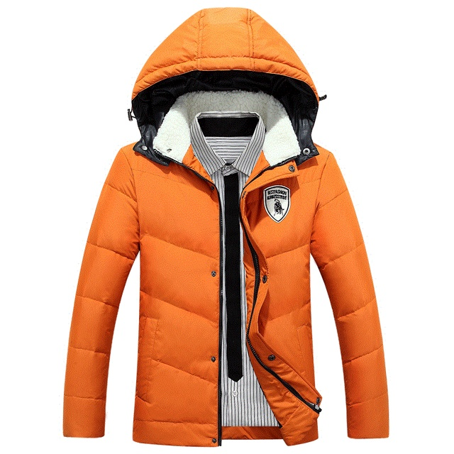 New 2016 Men Winter Black Jacket Parka Warm Coat With Hood Mens Cotton Padded Jackets Coats  Masculina Plus Size