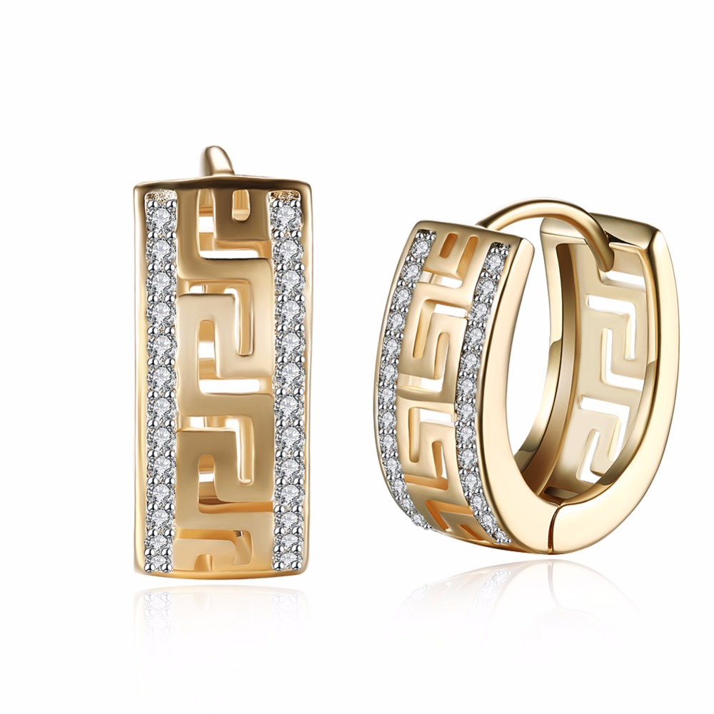 New Trendy gold colour clear CZ Earrings Round Hoop Earrings for Men Women Greek Key Punk Earrings
