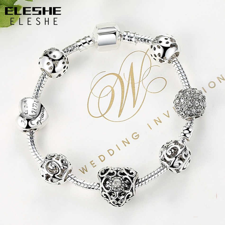 Eleshe роскошный очаровательный кристалл в виде сердца браслеты и браслеты уникальные серебряные браслеты для женщин оригинальные ювелирные изделия ручной работы дропшиппинг