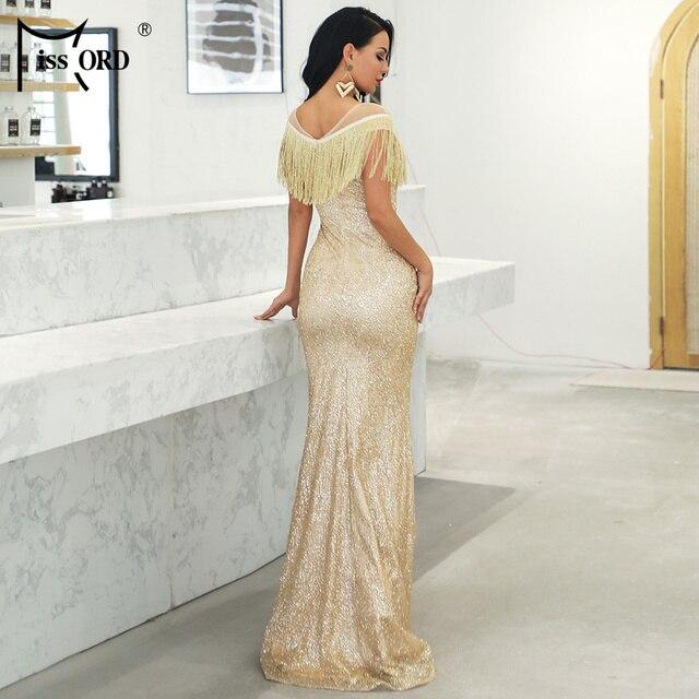 Missord 2019 Women Sexy O Neck Mesh Tassel Dresses Female Glitter Dress Elegant Maxi Bodycon Party Dress FT19008 3