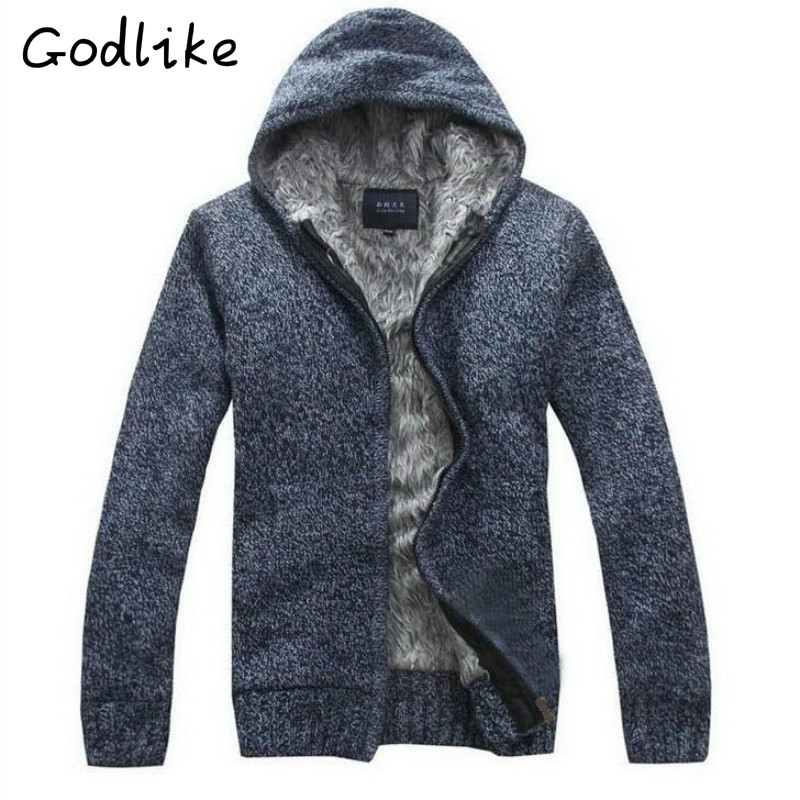 GODLIKE 2018 Winter Trade Men's Fashion Business Leisure And Thickening Hooded Cardigan Sweater Jacket