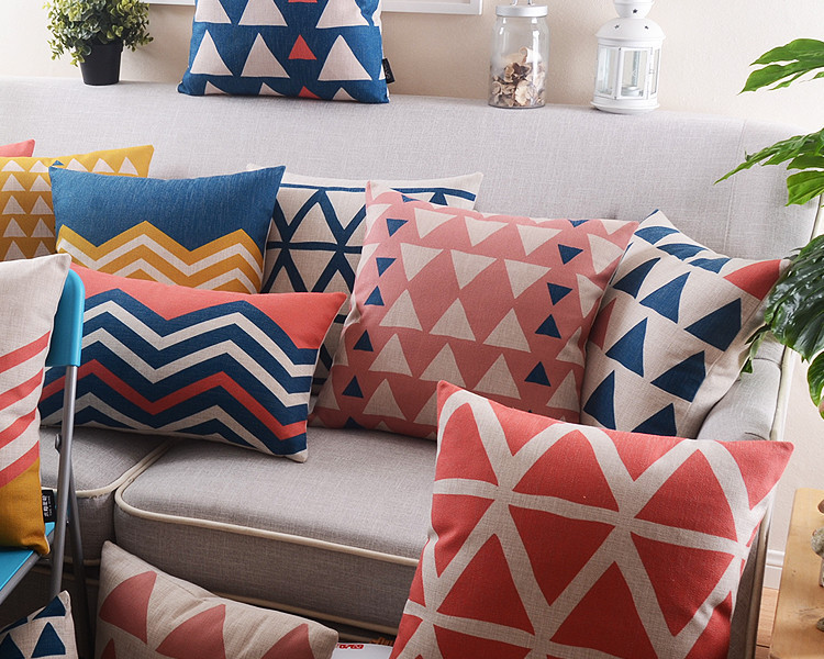 Wholesale!Nordic Abstract Geometry Linen Pillow  Cushion   For Office Car Home Decorate Sofa Cushions