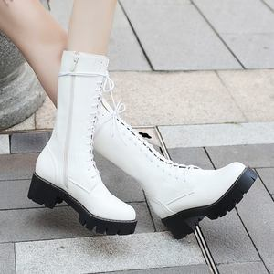 Image 3 - MORAZORA 2020 جديد المرأة منتصف العجل الأحذية الدانتيل يصل منصة الأحذية جولة تو الخريف الشتاء بوتاس السيدات أحذية حجم 34 43