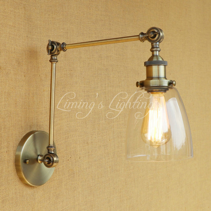 Retro Loft Industrial Wall Lamp Clear GLASS Lampshade Free Adjust Long Swing Arms For Living Room Restaurant Bar E27 Bulb american country retro industrial loft living room modo living room wall lamp bedside lamp wall lamp glass beanstalk study