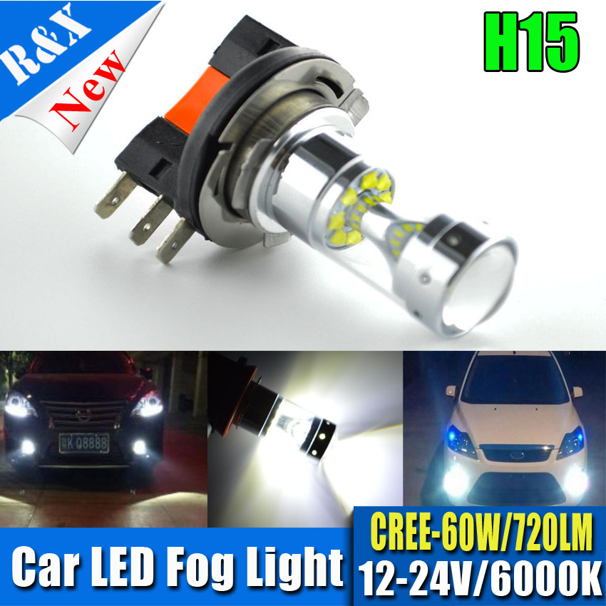 New 1x H15 12SMD LED 60W No polarity Car Auto DRL Daytime Running Lights Lamp Replacement Bulb 720LM Pure White 12-24V new arrival a pair 10w pure white 5630 3 smd led eagle eye lamp car back up daytime running fog light bulb 120lumen 18mm dc12v