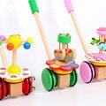 Holz Kinder Spielzeug Wanderer Karren Montessori Spielzeug Vorschule Spielzeug Einzigen Stange Kinderwagen Cartoon Tiere Pushing Auto Spielzeug auf