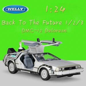 Image 1 - WELLY 1:24 ダイキャストシミュレーションモデル車 DMC 12 Delorean 時間にマシン将来車のおもちゃ金属おもちゃの車のギフトコレクション
