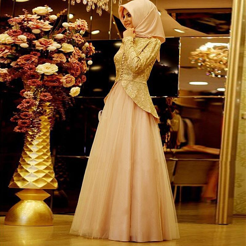 Fashion Muslim Formal Dresses Lace Long Sleeve Tulle Evening Dresses For Wedding Party Custom Made