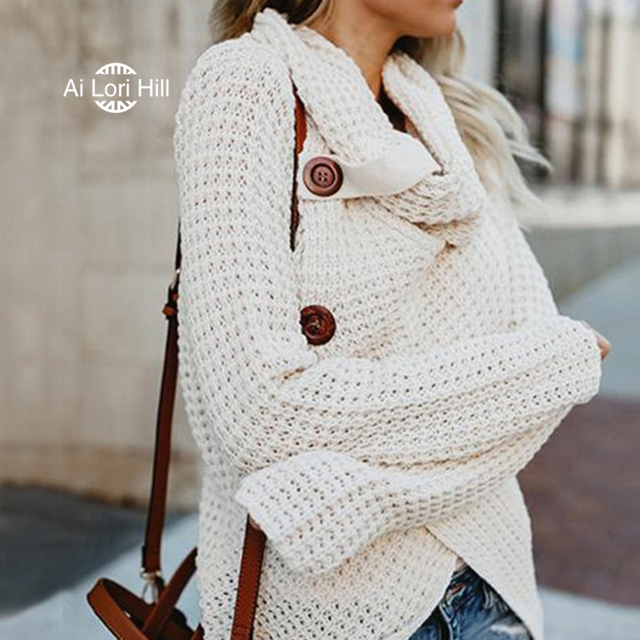 Sweater Women Cowl Neck Turtleneck Chunky Cable Knit Hooded Wrap ...