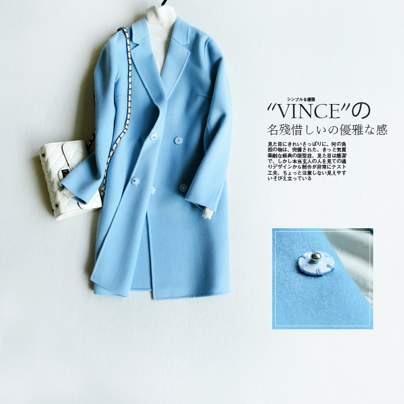 Women Coat 2016 New Spring Fashion Double-sided Cashmere Gray Sky Blue Long Wool Coats And Jackets Plus Size High Quality blue sky cashmere blue sky cashmere кашемировый джемпер 160346