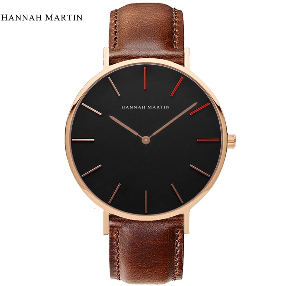 2017 New Designer HANNAH MARTIN Classical Male Men Women Ladi Top Brand Luxury Fashion Casual Quartz-watch Leather Wrist Watches 3