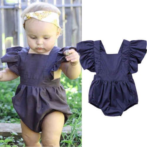 キッズベビー女の子服フライング袖ジャンプスーツロンパース背中の開いたサンスーツ衣装naveyブルーロンパース