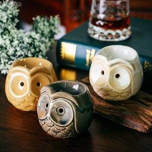 Оригинальная керамическая ароматическая горелка для ароматерапии, лампа для арома-масла в виде совы, держатель для свечей, украшения для дома и офиса, горелка для эфирных масел