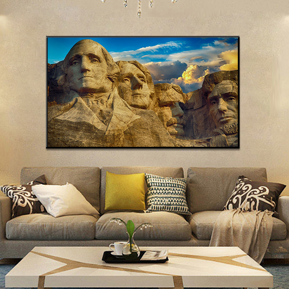 Unframed Canvas Painting President Hill Mount Rushmore Painting Posters Wall Picture For Living Room Home Decor Dropshipping