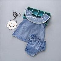 Baby Girl Romper Denim Romper Ruffles Sleeves Solid Blue Newborn Baby Rompers Toddler Kids Jumpsuit Outfits