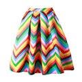 2016 New Spring Summer Rainbow Skirt Womens Gorgeous Pleated Stripe Puff Skirt Ladies saia Large Swing midi Skirt For Women