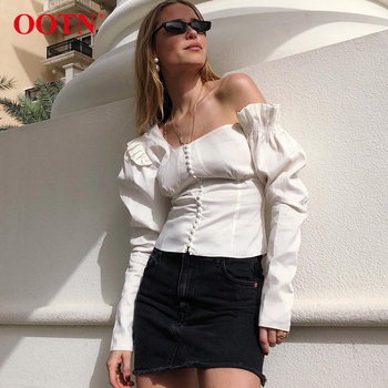OOTN One Shoulder Asymmetrical White Blouse Tops Women Sexy Puff Sleeve Shirts Tops Female Ruffle Autumn Tunic Blouse Casual