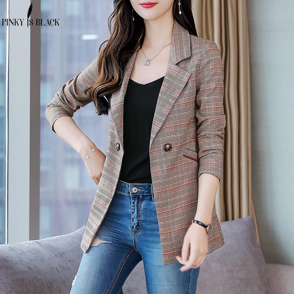 PinkyIsBlack Double Breasted Office Ladies Plaid Blazer Long Sleeve Loose Houndstooth Suit Coat Jacket Women Blazers Female