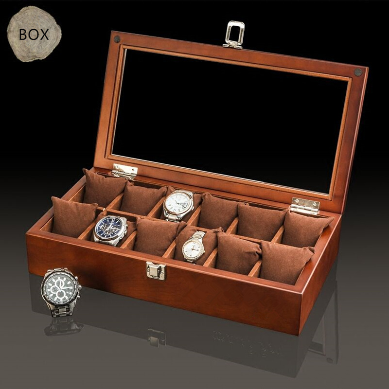 Top 12 Slots Wood Watch Box Case Coffee Mechanical Watches Organizer With Glass Window New Watch