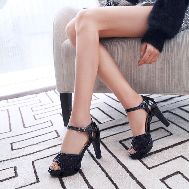 Image 5 - Phoentin 2019 summer mesh women high sandals silver platform sandals strap patchwork PU leather woman peep toe shoes sexy FT620High Heels   -