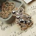 Nuevo estilo Retro hueco largo collar del oso moda joyería fina para mujeres colgante gargantilla Vintage cadenas de joyería