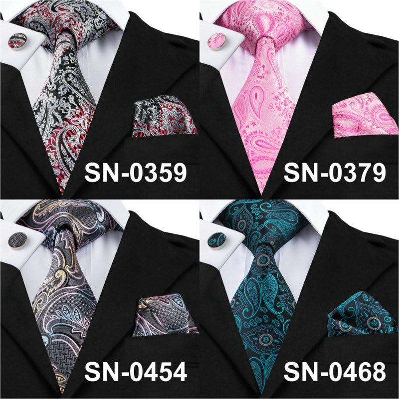 New Brand Hi-Tie Paisley Tie Set 100% Silk Jacquard Mens Necktie Gravata Hanky Cufflinks Set Mens Tie for Wedding Party