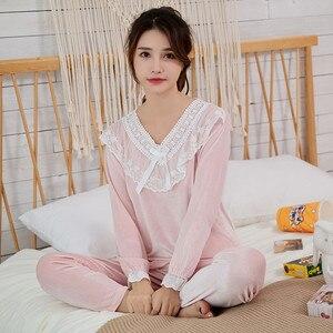 Image 4 - Julys Lied Goud Fluwelen Herfst Winter Warme Pyjama Set Vrouwen Pyjama Nachtkleding Lange Mouwen Leisure Homewear 2 Peice Nachtkleding