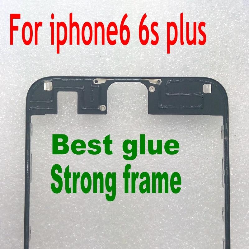 imágenes para 10 unids negro/blanco bisel frontal con pegamento caliente para iphone 6 6 s plus 4.7/5.5 pantalla lcd marco medio vivienda partes titular