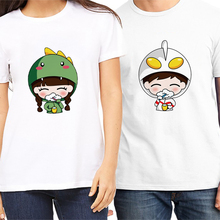 PSTYLE Cute Cartoon Design t shirts for couples Men and Women Kawaii T-shirt summer short sleeve tee lovers gifts