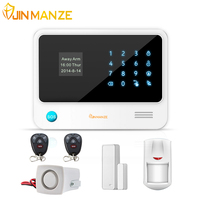 Touch Keypad 433mhz G90B WIFI GSM GPRS Alarm System With Wireless Smoke Fire Sensor Gas Detector