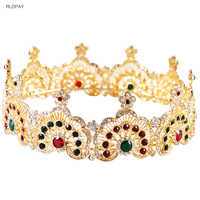 Vintage Gold Wedding Hair Accessories Colorful Stone Tiaras For Girls Round Crowns Bridal Jewelry
