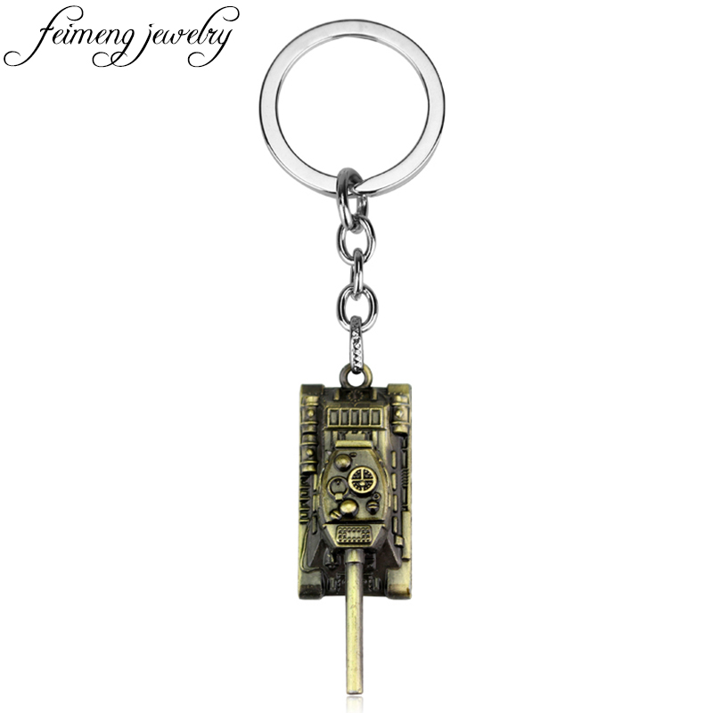 feimeng jewelry Wot Game World of Tanks Keychain Metal Tank Model Pendent Keyring Fashion Car Key Chain For Key Holder Souvenirs