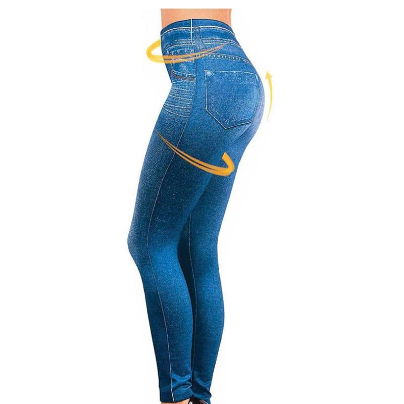 Hayoha 2017 Leggings Jeans for Women Denim Pants with Pocket Slim Leggings Women Fitness Plus Size Leggins S-XXL Black/Gray/Blue