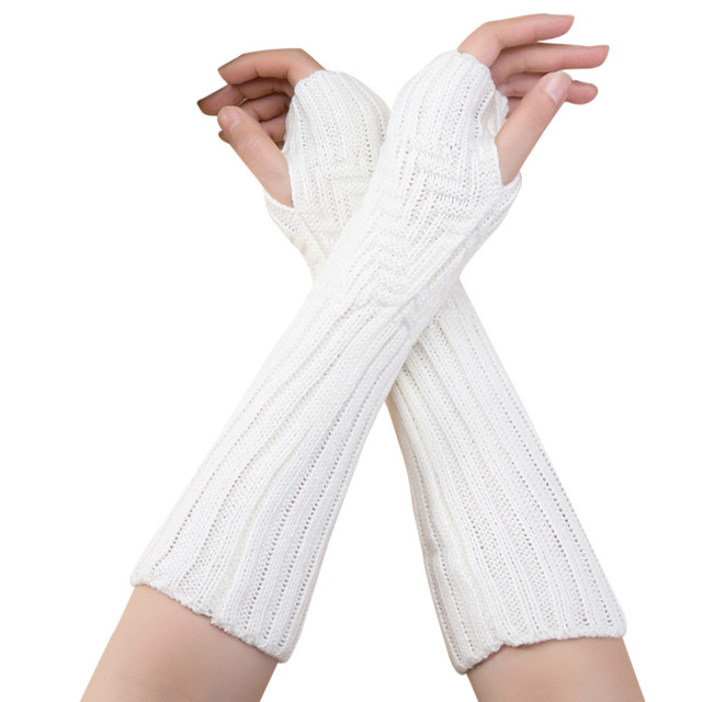 FEITONG gloves women cute Autumn Winter Women Cashmere Wool Knit Gloves 2017 New Warm Soft White Female Long Fingerless Gloves