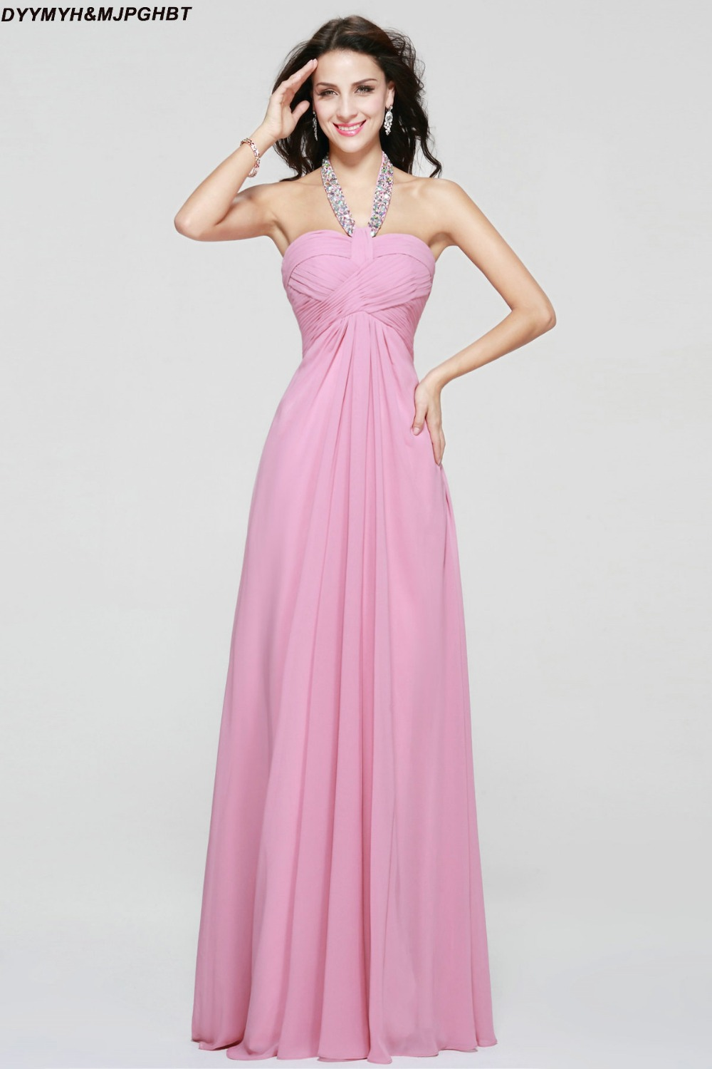 Aliexpress buy crystal halter bridesmaid dresses dusty pink aliexpress buy crystal halter bridesmaid dresses dusty pink open back with bow long baby pink maid of honor dresses from reliable bridesmaid dresses ombrellifo Choice Image