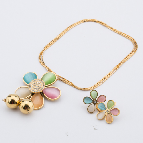 TL Zircon Flowers Floating Locket Glass Pendant Necklace&Earrings Jewelry Set Wishing Bottle For Children Family Love