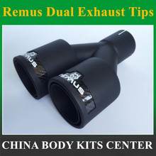 1pcs Double wall brushed finished 304 Stainless Steel matte/black vehicle REMUS car exhaust muffler tips