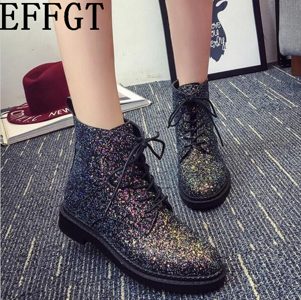 EFFGT winter influx of European and American sequined lace low cylinder boots Martin boots Korean female fashion round head boot