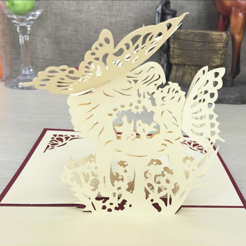 1pcs Angel Kiss Laser Cut Paper Greeting 3D Pop Up Kirigami Card Wedding Invitation Birthday Valentine's Day Postcards Gifts